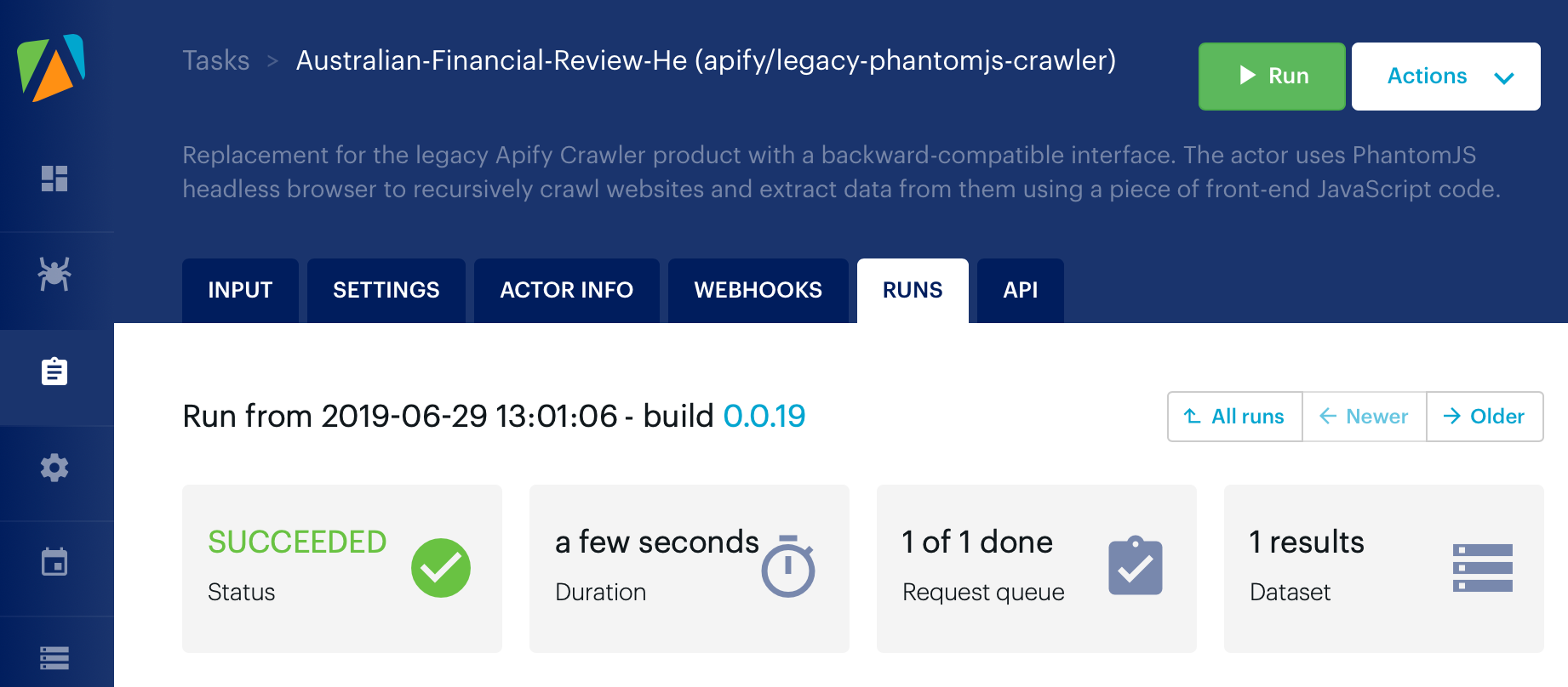 The status page of a successful run of the crawler