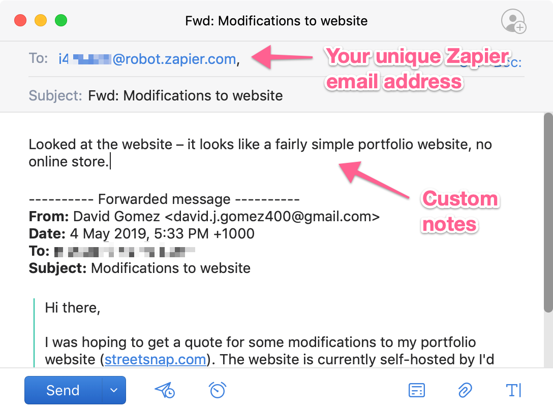 Forwarding an email from a prospective customer to Zapier