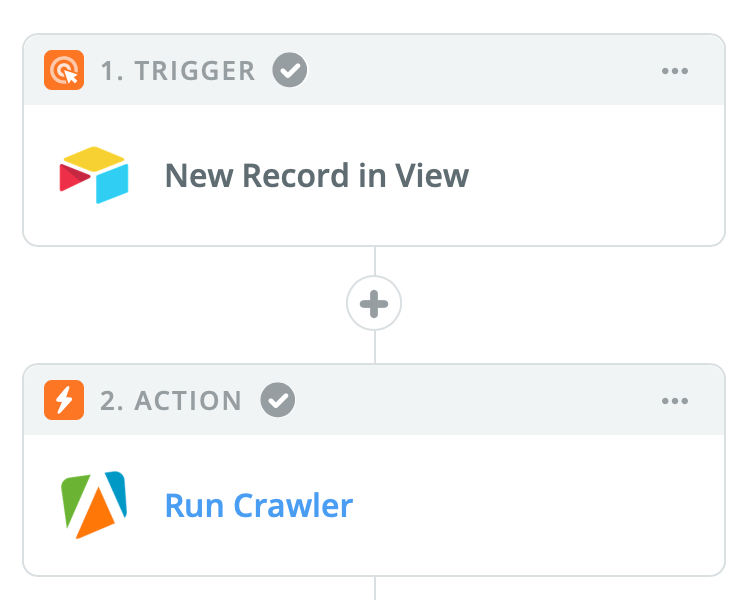 Zapier Zap for triggering an Apify crawler when new records are added to an Airtable view