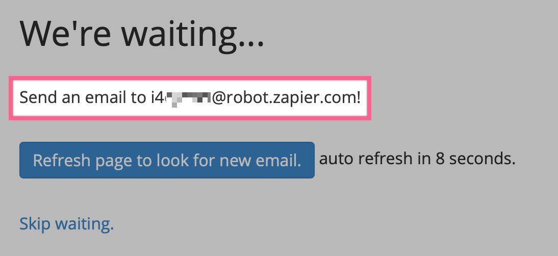 A new mailbox in Zapier Email Parser with a unique email address