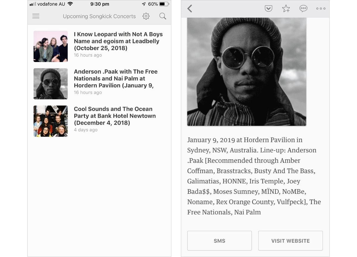 RSS feed of recommended Songkick events viewed in Feedly