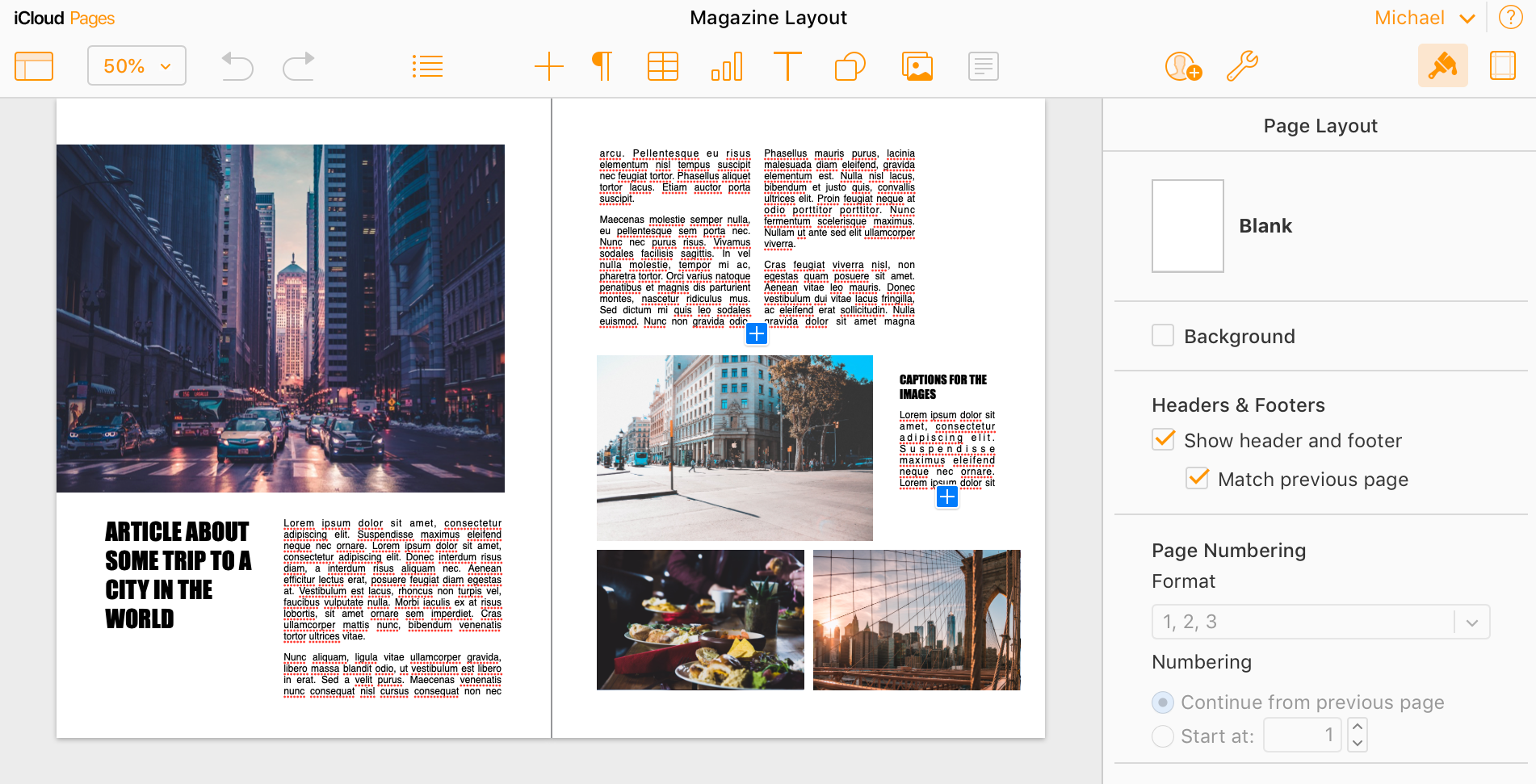 iCloud Pages can lay out documents that can't be laid out using pure HTML and CSS